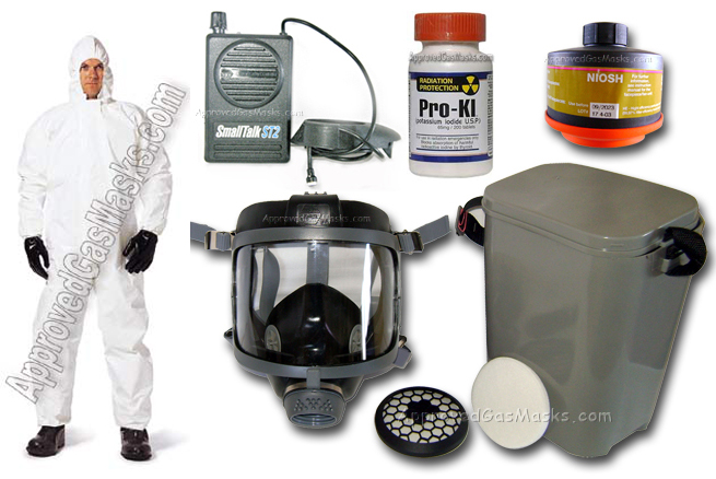 Kit includes 1 DP (Domestic Preparedness) Gas Mask, 1 DP (Domestic Preparedness) Gas Mask Filter, 1 SmallTalk microphone & loudspeaker, 1 PVC storage/carry case, and 1 Bottle of ProKI Potassium Iodide included free