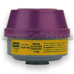 North N7583 P100 and OV CL HC SD HF CD gas filter for any North gas mask