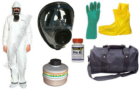 Kit includes an SGE 150 gas mask, Drager NBC gas filter, chemical suit, gloves, booties, mask bag, potassium iodide, duffle bag and more!