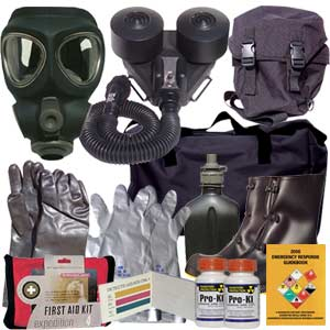Kit includes a Powered Blower system and premium M95 gas mask, M95 NBC filter, mask bag, chemical suit, gloves, boots, mask bag, M8 chemical detection paper, potassium iodide, chemical detection paper, duffle bag and more!