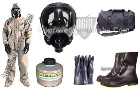 Kit includes an SGE 400/3 Gas Mask, NBC Filter, CPF3 chemical suit, butyl gloves, ChemBio Overboots, and a duffle bag!