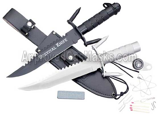 Survival and military assault knife with survival kit stored in the handle
