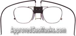 Specially designed frames fit the MSA 3100 and 3200 gas mask