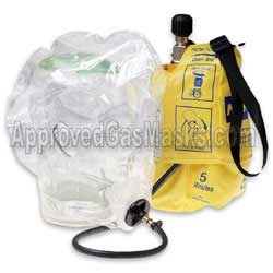Emergency escape hood gas mask with supplied air