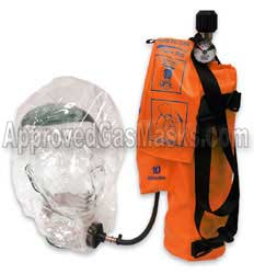Emergency escape hood gas mask with supplied air EEBA