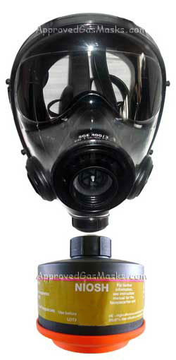 SGE 400/3 NBC Gas Mask is NIOSH approved with an DP filter for NBC CBA RCA hazards