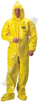 Tychem BR 150 Protective Chemical Suit - Coveralls with boots and hood